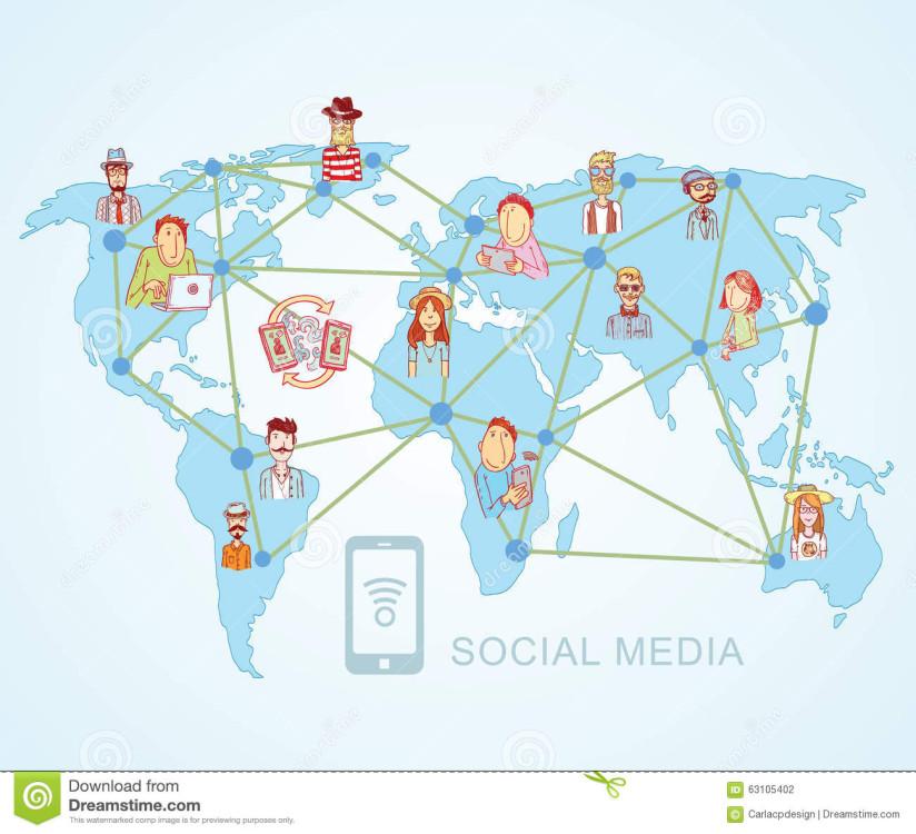 101 - world-map-social-media-communication-internet-network-doodle-vector-illustration-63105402
